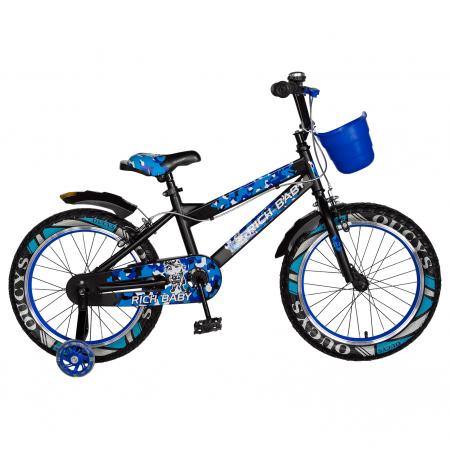 "Bicicleta baieti RICH BABY R18WTA, roata 18"", roti ajutatoare cu LED, 5-7 ani, negru negru/albastru [0]"