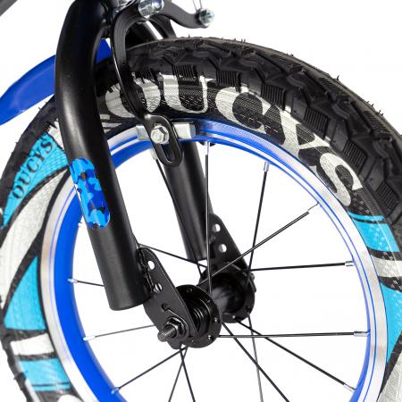 "Bicicleta baieti RICH BABY R18WTA, roata 18"", roti ajutatoare cu LED, 5-7 ani, negru negru/albastru [8]"