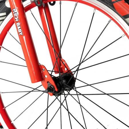 """Bicicleta baieti RICH BABY R20WTB, roata 20"""", 7-10 ani, culoare negru/rosu [4]"""