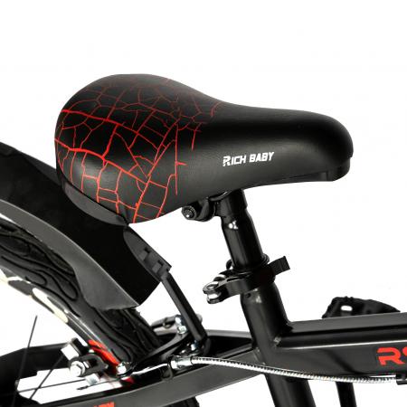 """Bicicleta baieti RICH BABY R20WTB, roata 20"""", 7-10 ani, culoare negru/rosu [1]"""