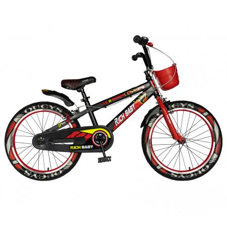 """Bicicleta baieti RICH BABY R20WTB, roata 20"""", 7-10 ani, culoare negru/rosu [0]"""