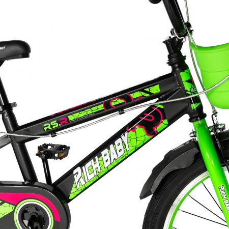 """Bicicleta baieti RICH BABY R20WTB, roata 20"""", 7-10 ani, culoare negru/verde [4]"""