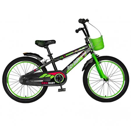"""Bicicleta baieti RICH BABY R20WTB, roata 20"""", 7-10 ani, culoare negru/verde [0]"""