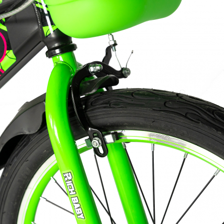 """Bicicleta baieti RICH BABY R20WTB, roata 20"""", 7-10 ani, culoare negru/verde [5]"""