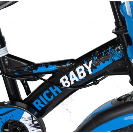 "Bicicleta baieti Rich Baby T1204C, roata 12"", C-Brake,  roti ajutatoare, 2-4 ani, negru/albastru [3]"