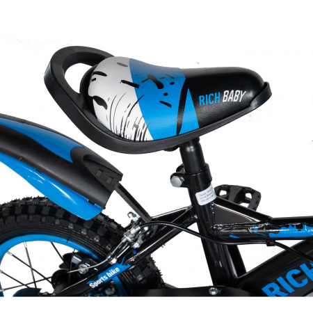 "Bicicleta baieti Rich Baby T1204C, roata 12"", C-Brake,  roti ajutatoare, 2-4 ani, negru/albastru [1]"