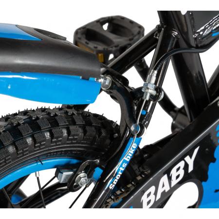 "Bicicleta baieti Rich Baby T1204C, roata 12"", C-Brake,  roti ajutatoare, 2-4 ani, negru/albastru [2]"