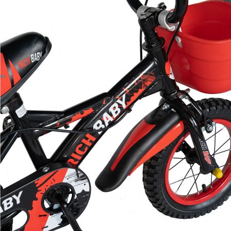 "Bicicleta baieti Rich Baby T1204C, roata 12"", C-Brake,  roti ajutatoare, 2-4 ani, negru/rosu [4]"