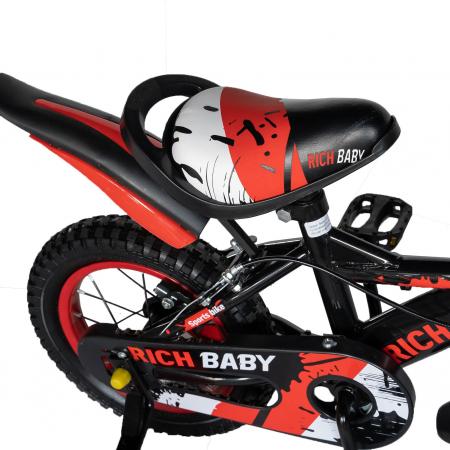 "Bicicleta baieti Rich Baby T1204C, roata 12"", C-Brake,  roti ajutatoare, 2-4 ani, negru/rosu [2]"