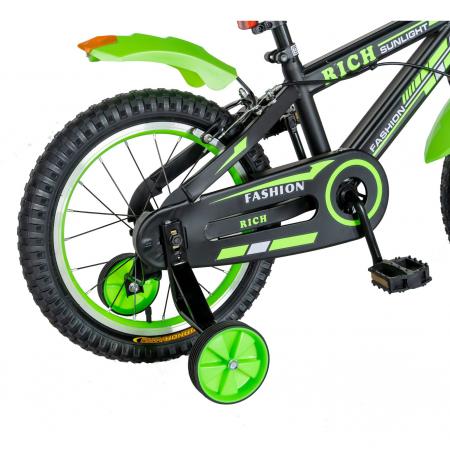 "Bicicleta baieti Rich Baby T1602C, roata 16"", C-Brake, roti ajutatoare, 4-6 ani, negru/verde [2]"