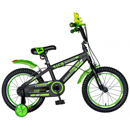 "Bicicleta baieti Rich Baby T1602C, roata 16"", C-Brake, roti ajutatoare, 4-6 ani, negru/verde [0]"