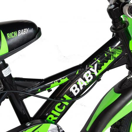 "Bicicleta baieti Rich Baby T1604C, roata 16"", C-Brake,  roti ajutatoare, 4-6 ani, negru/verde [3]"