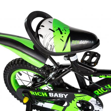 "Bicicleta baieti Rich Baby T1604C, roata 16"", C-Brake,  roti ajutatoare, 4-6 ani, negru/verde [1]"