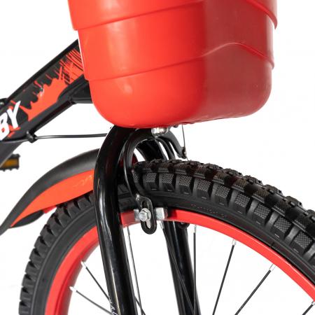 "Bicicleta baieti Rich Baby T2004C, roata 20"", C-Brake, 7-10 ani, negru/rosu [4]"