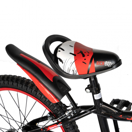 "Bicicleta baieti Rich Baby T2004C, roata 20"", C-Brake, 7-10 ani, negru/rosu [1]"
