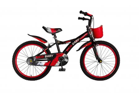 "Bicicleta baieti Rich Baby T2004C, roata 20"", C-Brake, 7-10 ani, negru/rosu [0]"