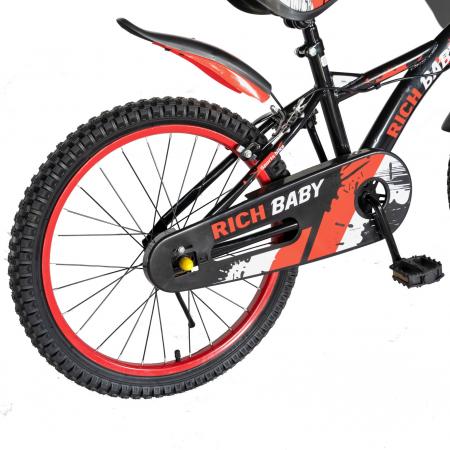 "Bicicleta baieti Rich Baby T2004C, roata 20"", C-Brake, 7-10 ani, negru/rosu [3]"