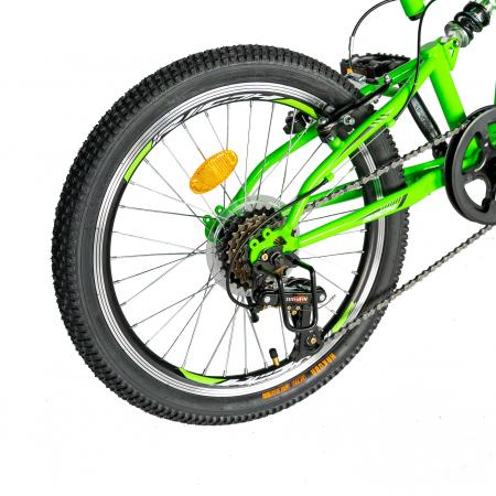 Bicicleta copii 20 inch RICH Alpin R2049A, 6 viteze, tip frana V-Brake, culoare verde/negru, varsta 7-10 ani [1]