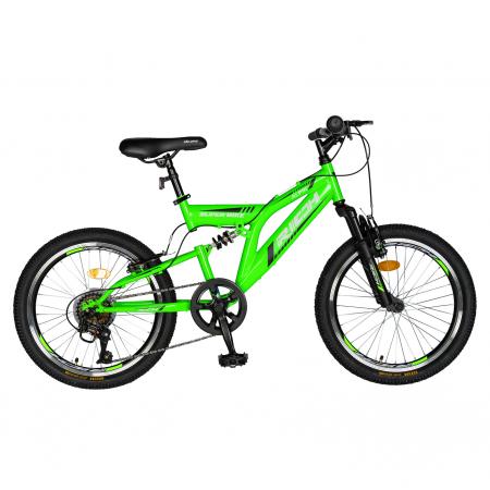 Bicicleta copii 20 inch RICH Alpin R2049A, 6 viteze, tip frana V-Brake, culoare verde/negru, varsta 7-10 ani [0]