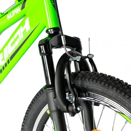 Bicicleta copii 20 inch RICH Alpin R2049A, 6 viteze, tip frana V-Brake, culoare verde/negru, varsta 7-10 ani [4]