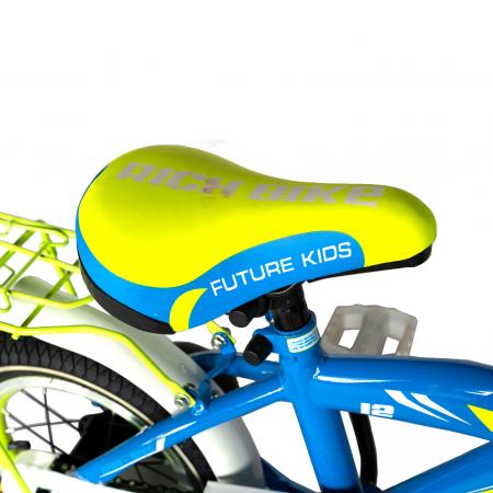 Bicicleta copii Rich Baby 2-4 ani, Roti 12 Inch, V-Brake, Roti Ajutatoare, Rich Baby CST12/03C, Cadru Albastru cu Design Galben [3]