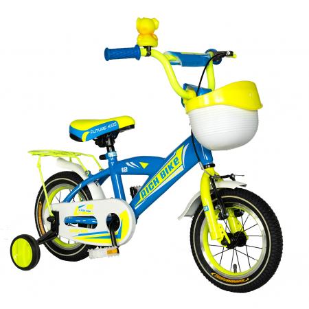 Bicicleta copii Rich Baby 2-4 ani, Roti 12 Inch, V-Brake, Roti Ajutatoare, Rich Baby CST12/03C, Cadru Albastru cu Design Galben [1]