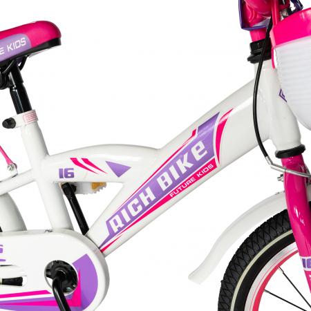 "Bicicleta copii Rich Baby T1603C, roata 16"", V-Brake,  roti ajutatoare, 4-6 ani, alb/roz [2]"