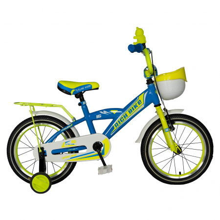 "Bicicleta copii Rich Baby T1603C, roata 16"", V-Brake,  roti ajutatoare, 4-6 ani, albastru/galben [0]"