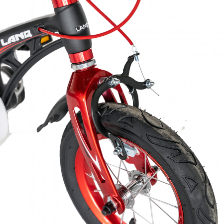 "Bicicleta copii Rich Baby W1246D, roata 12"", cadru aliaj magneziu, frana C-Brake, roti ajutatoare, 2-4 ani, negru/rosu [9]"