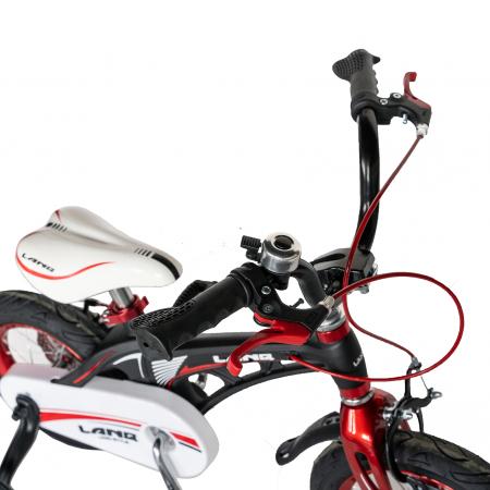 "Bicicleta copii Rich Baby W1246D, roata 12"", cadru aliaj magneziu, frana C-Brake, roti ajutatoare, 2-4 ani, negru/rosu [10]"