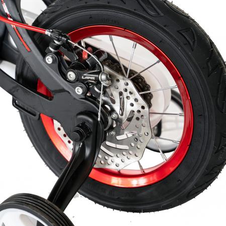"Bicicleta copii Rich Baby W1246D, roata 12"", cadru aliaj magneziu, frana C-Brake, roti ajutatoare, 2-4 ani, negru/rosu [8]"
