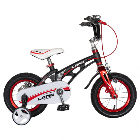 "Bicicleta copii Rich Baby W1246D, roata 12"", cadru aliaj magneziu, frana C-Brake, roti ajutatoare, 2-4 ani, negru/rosu [0]"
