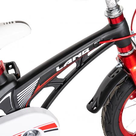 "Bicicleta copii Rich Baby W1246D, roata 12"", cadru aliaj magneziu, frana C-Brake, roti ajutatoare, 2-4 ani, negru/rosu [5]"