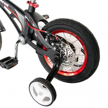 "Bicicleta copii Rich Baby W1246D, roata 12"", cadru aliaj magneziu, frana C-Brake, roti ajutatoare, 2-4 ani, negru/rosu [7]"