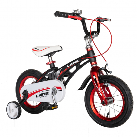 "Bicicleta copii Rich Baby W1246D, roata 12"", cadru aliaj magneziu, frana C-Brake, roti ajutatoare, 2-4 ani, negru/rosu [1]"