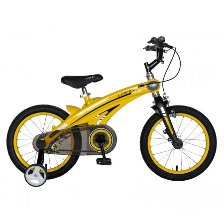 "Bicicleta copii W1639D, roata 16"", cadru aliaj magneziu, frana C-Brake, roti ajutatoare, 4-6 ani, galben/negru [0]"