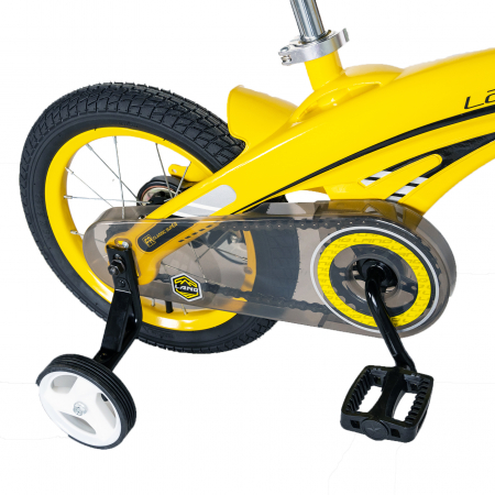 "Bicicleta copii W1639D, roata 16"", cadru aliaj magneziu, frana C-Brake, roti ajutatoare, 4-6 ani, galben/negru [4]"