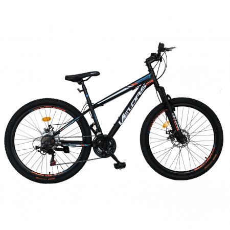 "Bicicleta de munte Velors V2610A, roata 26"", frana disc, 18 viteze, negru/alb/portocaliu [0]"