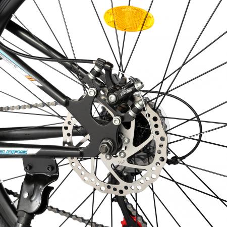 "Bicicleta de munte Velors V2610A, roata 26"", frana disc, 18 viteze, negru/alb/portocaliu [11]"