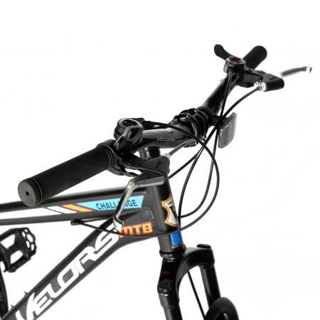 "Bicicleta de munte Velors V2610A, roata 26"", frana disc, 18 viteze, negru/alb/portocaliu [6]"