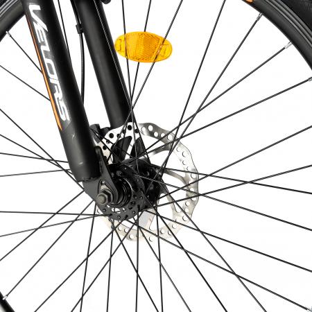 "Bicicleta de munte Velors V2610A, roata 26"", frana disc, 18 viteze, negru/alb/portocaliu [8]"