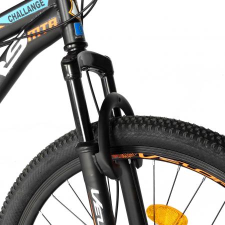 "Bicicleta de munte Velors V2610A, roata 26"", frana disc, 18 viteze, negru/alb/portocaliu [7]"