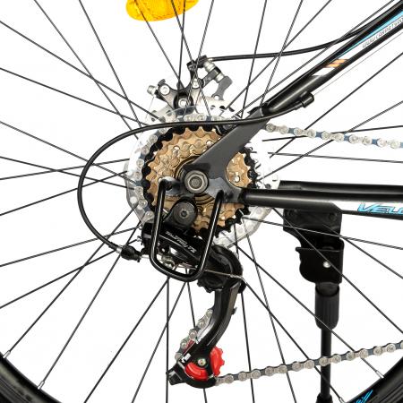 "Bicicleta de munte VELORS V2710A, roata 27.5"", frana disc, 18 viteze, negru/albastru/portocaliu [4]"