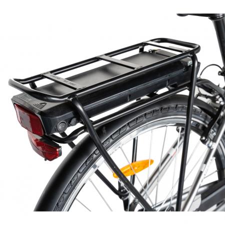 """Bicicleta electrica City (E-BIKE) CARPAT C1010E, roata 28"""", cadru aluminiu, frane V-Brake, transmisie SHIMANO 7 viteze, culoare gri/alb [2]"""