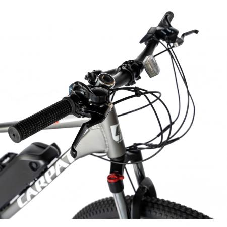 """Bicicleta electrica MTB (E-BIKE) CARPAT 27.5"""" C1011E, cadru aluminiu, frane mecanice disc, transmisie SHIMANO 21 viteze, culoare gri/alb [1]"""