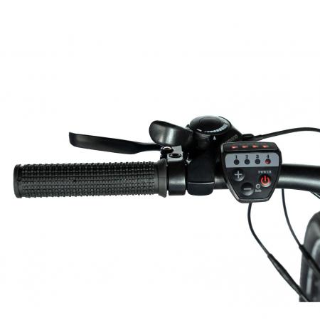 """Bicicleta electrica MTB (E-BIKE) CARPAT 27.5"""" C1011E, cadru aluminiu, frane mecanice disc, transmisie SHIMANO 21 viteze, culoare gri/alb [9]"""
