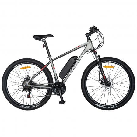"""Bicicleta electrica MTB (E-BIKE) CARPAT 27.5"""" C1011E, cadru aluminiu, frane mecanice disc, transmisie SHIMANO 21 viteze, culoare gri/alb [0]"""