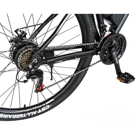 """Bicicleta electrica MTB (E-BIKE) CARPAT 27.5"""" C1011E, cadru aluminiu, frane mecanice disc, transmisie SHIMANO 21 viteze, culoare negru/alb [1]"""