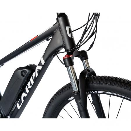 """Bicicleta electrica MTB (E-BIKE) CARPAT 27.5"""" C1011E, cadru aluminiu, frane mecanice disc, transmisie SHIMANO 21 viteze, culoare negru/alb [5]"""