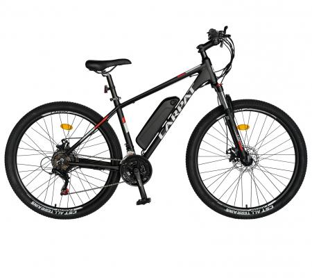 """Bicicleta electrica MTB (E-BIKE) CARPAT 27.5"""" C1011E, cadru aluminiu, frane mecanice disc, transmisie SHIMANO 21 viteze, culoare negru/alb [0]"""
